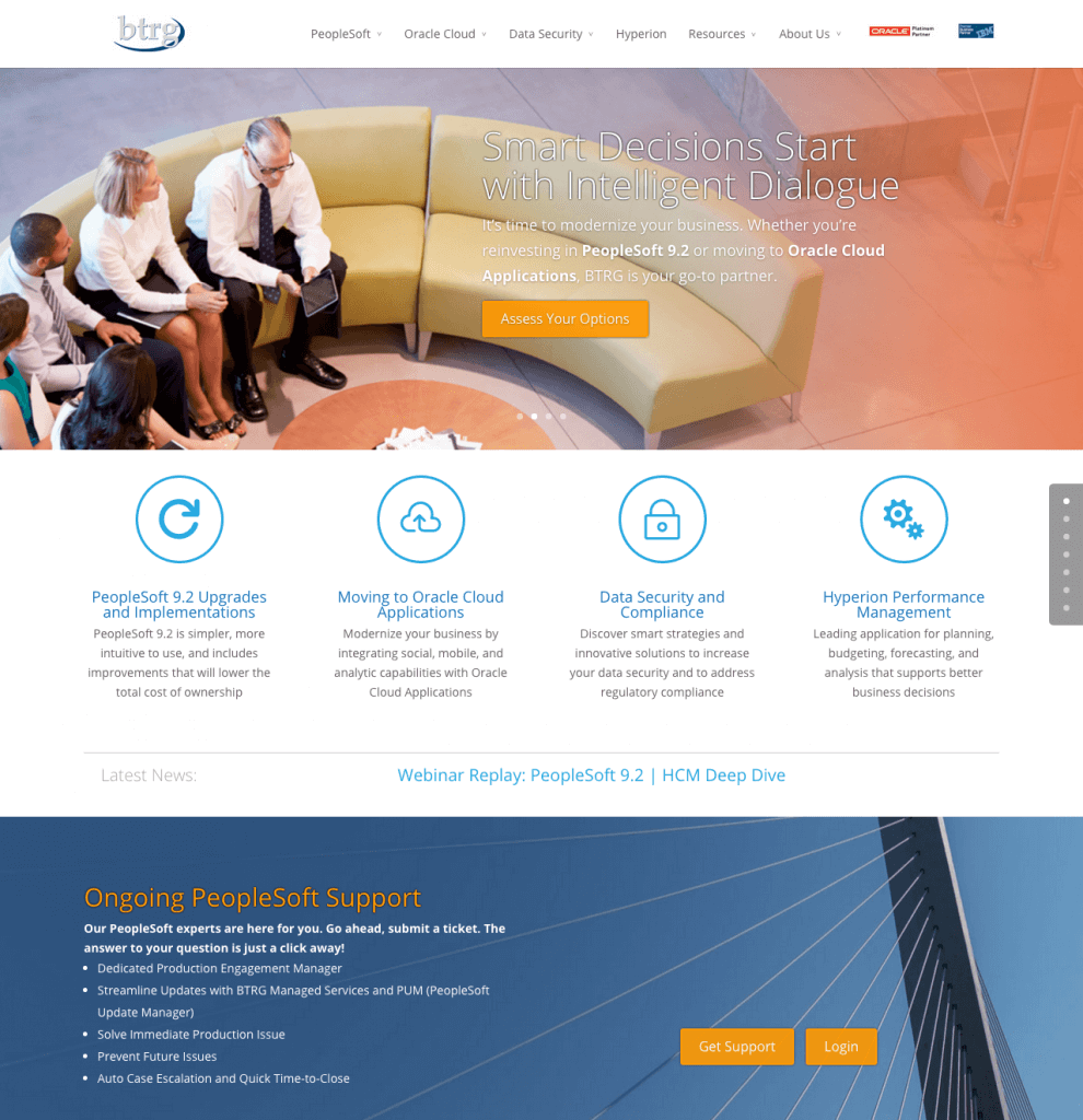 BTRG Inc. PeopleSoft 9.2 Upgrades Oracle Cloud Solutions Data Security BTRGroup.com